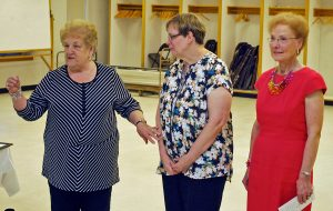 "From left, Carthage Area Hospital Auxiliary member Ann Hancock introduces Michel Camidge, center, as the auxiliary ""Senior Volunteer"" award recipient while Yolanda Skvorak, Carthage Area Hospital Auxiliary interim president, looks on."