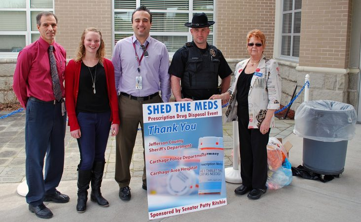 From left, Jim Brady, BS, RPh, Carthage Area Hospital director of pharmacy; Danielle Eisel, pharmacy student intern, Albany College of Pharmacy and Health Sciences; Christopher M. Bradley, PharmD, MBA, RPh, Carthage Area Hospital clinical pharmacist; Jamie Taylor, Jefferson County Sheriff's Office deputy; and Bonnie Fikes, New York State Sen. Patty Ritchie's office. The group held a successful prescription drug take-back event on Thursday, May 4, collecting nearly 65 pounds of drugs at the main entrance of the hospital.