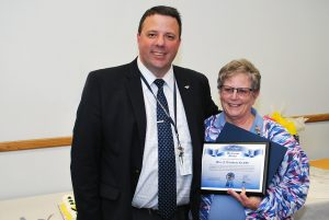 Carthage Area Hospital Chief Executive Officer Rich Duvall congratulates hospital Nursing Supervisor Manager Mary F. Kleinhans, RN, BSN. Kleinhans retired this week after 16 years at Carthage Hospital and 44 years working as a nurse in Northern New York.